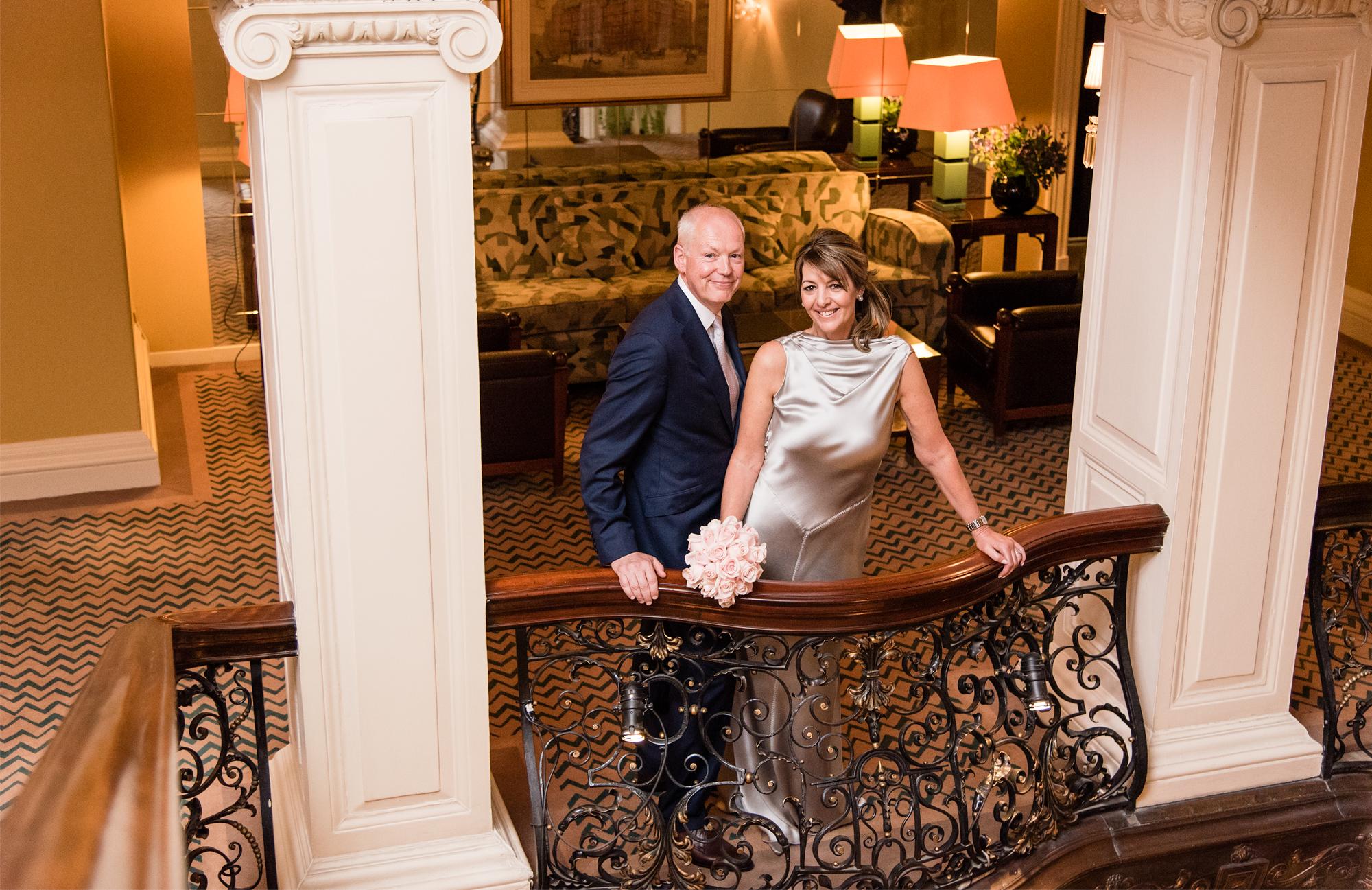 claridges wedding balcony bride and groom